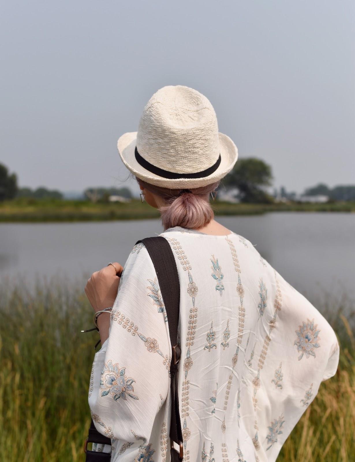 Monika Faulkner personal style inspiration - damask-patterned kimono, straw fedora