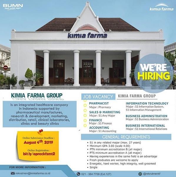 Lowongan Kerja PT Kimia Farma (Persero) Agustus 2019