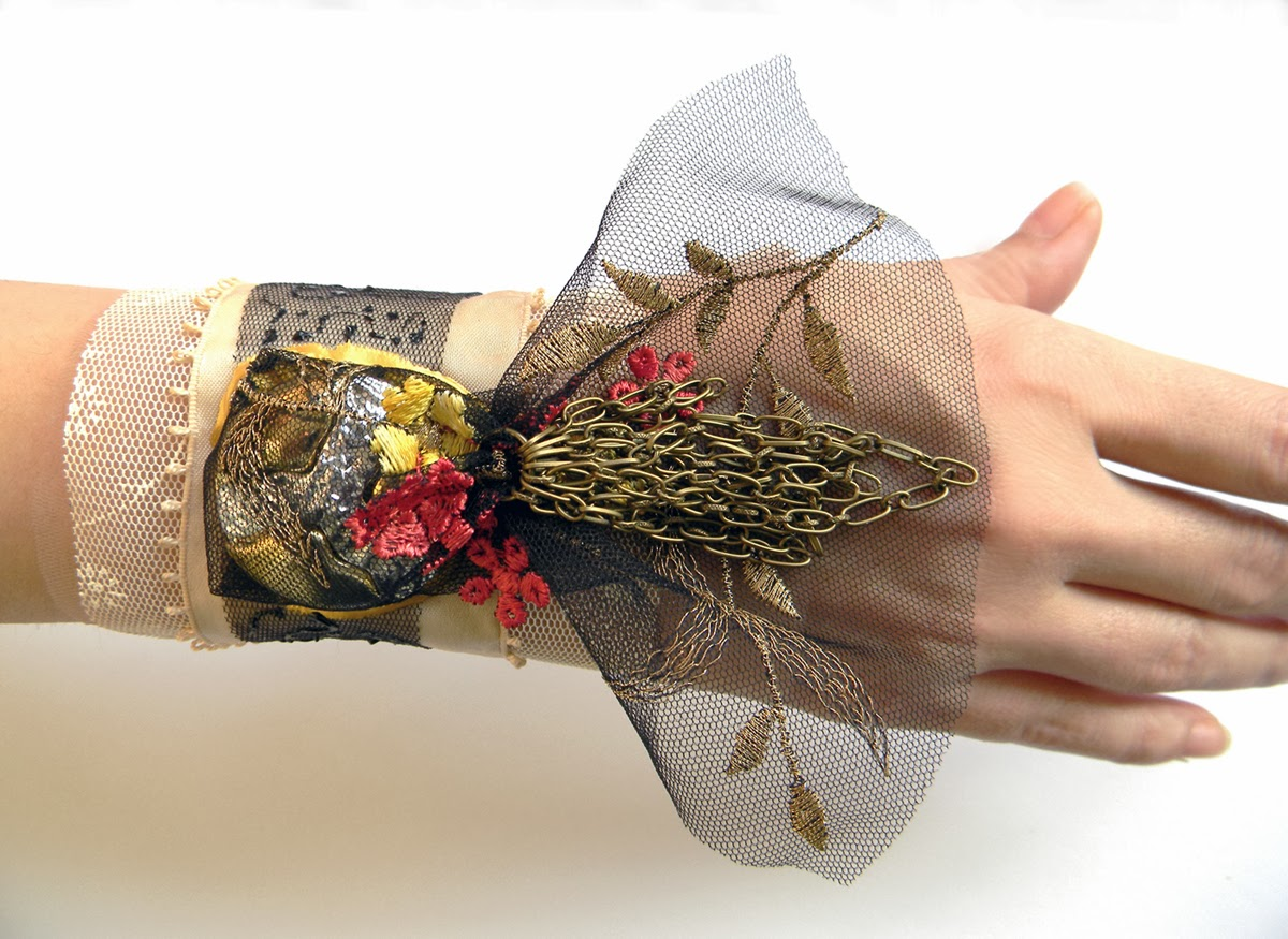 Textile Wrist Cuff Victorian Gothic inspired with Embroidered Floral Tulle and Upcycled Vintage Button