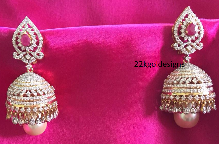jhumkas pin diamond latest and anmerican american diamonds stone jhumka