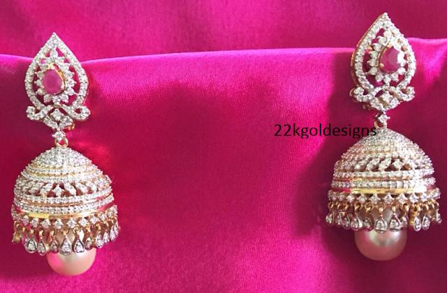 Kothari's Diamond Jhumkas Design