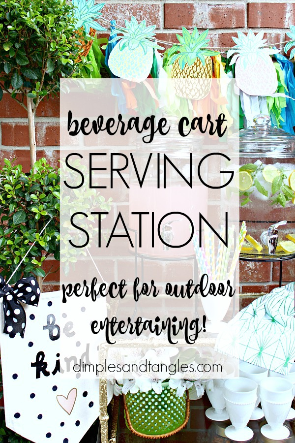 beverage station, outdoor entertaining, party planning, bar cart