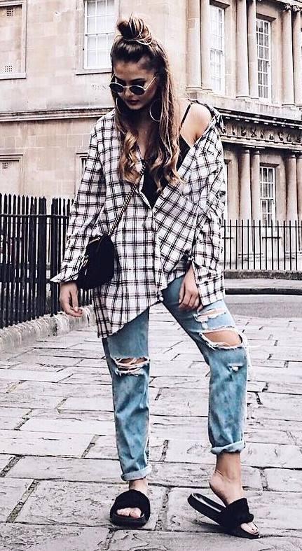 street style obsession / plaid shirt + top + bag + boyfriend jeans + flip-flop
