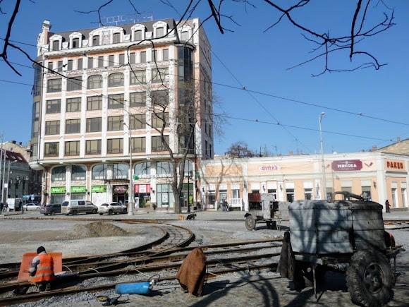 Одеса. Ремонт колії на Тераспольській площі