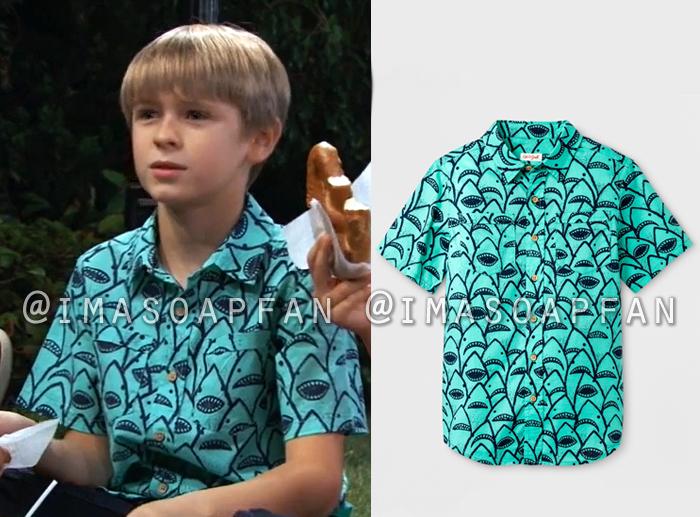 Jake Spencer, Hudson West, Blue-Green Shark Print Shirt, General Hospital, GH