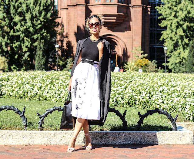 eShakti Black and White Riley midi Dress