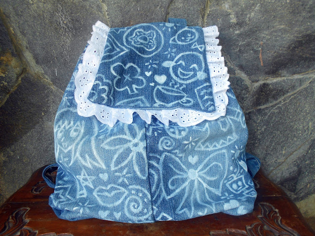 DIY Doodled Denim Backpack - front side - decoration