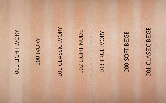 Rimmel Lasting Finish Breathable Foundation Swatches 001 100 101 102 103 200 201 NC10 NW25 NW30 NC20 NC30