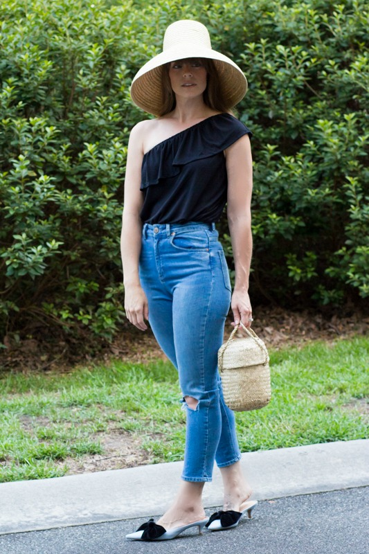 One shoulder top outfits