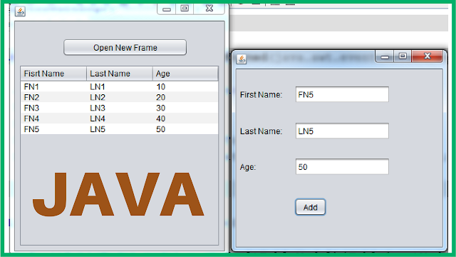 add row to jtable from another jframe in java