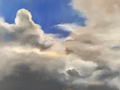 Cloud study, oil on panel 20x15 cm, daily painting by Philine van der Vegte