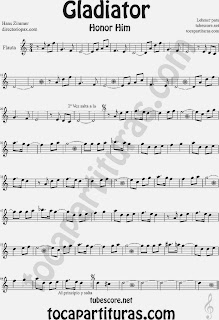 Partitura de Gladiator para Flauta Travesera, flauta dulce y flauta de pico by Hans Zimmer Sheet Music for Flute and Recorder Music Score