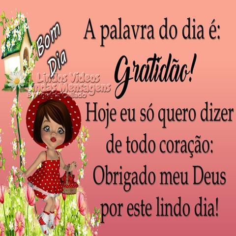 A palavra do dia é:  Gratidão!  Hoje eu só quero dizer   de todo coração:  Obrigado meu Deus   por este lindo dia!  Bom Dia!