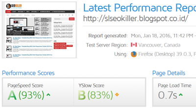 Page load time SL SEO KIller - Template Blog Super SEO Friendly Responsive Terbaik cuma 0,7 detik
