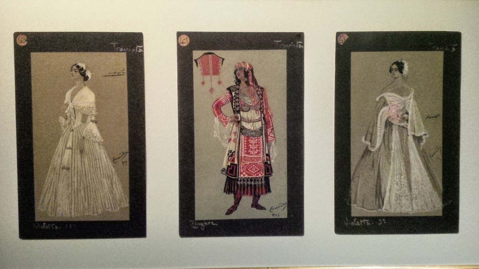 Original sketches for costumes for Verdi's La Traviata, AMO, Verona
