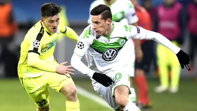 Julian Draxlber lors du match aller La Gantoise - Wolfsburg