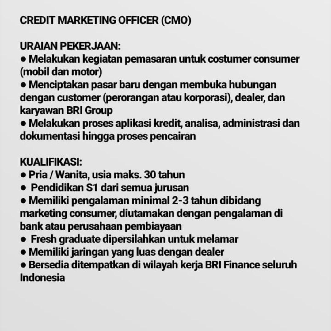 Kuduskerja informasi lowongan kerja hari ini, PT. BANK RAKYAT INDONESIA Sedang membuka kesempatan berkerja senagai marketing head komersil, unit head admin, credit marketing officer, collection, internal control unit, credit analyst, admin komersil, admin konsumer, admin operasional dengan ketentuan sebagai berikut