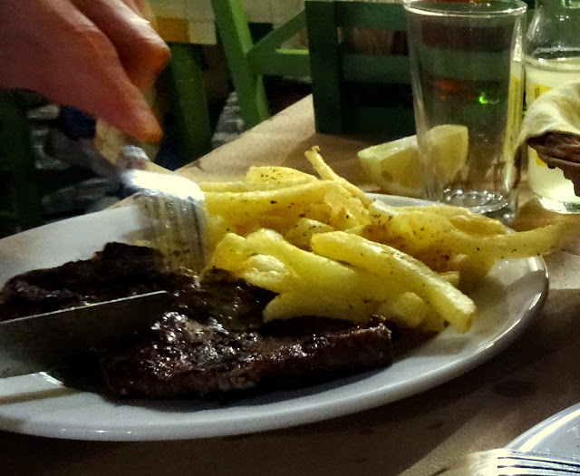 Grilled pork steak fries Amvrosios fish taverna in Preveza