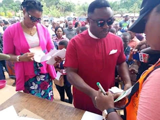 Ben Ayade and wife cast their vote