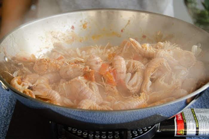 cooking mantis prawns