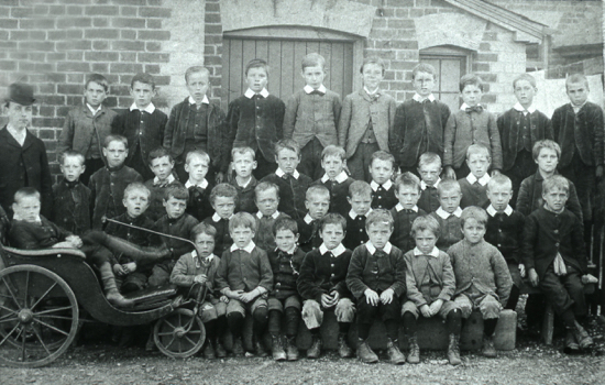 Picture of pupils of Welham Green Boys' School with Benjamin Mallett c 1894