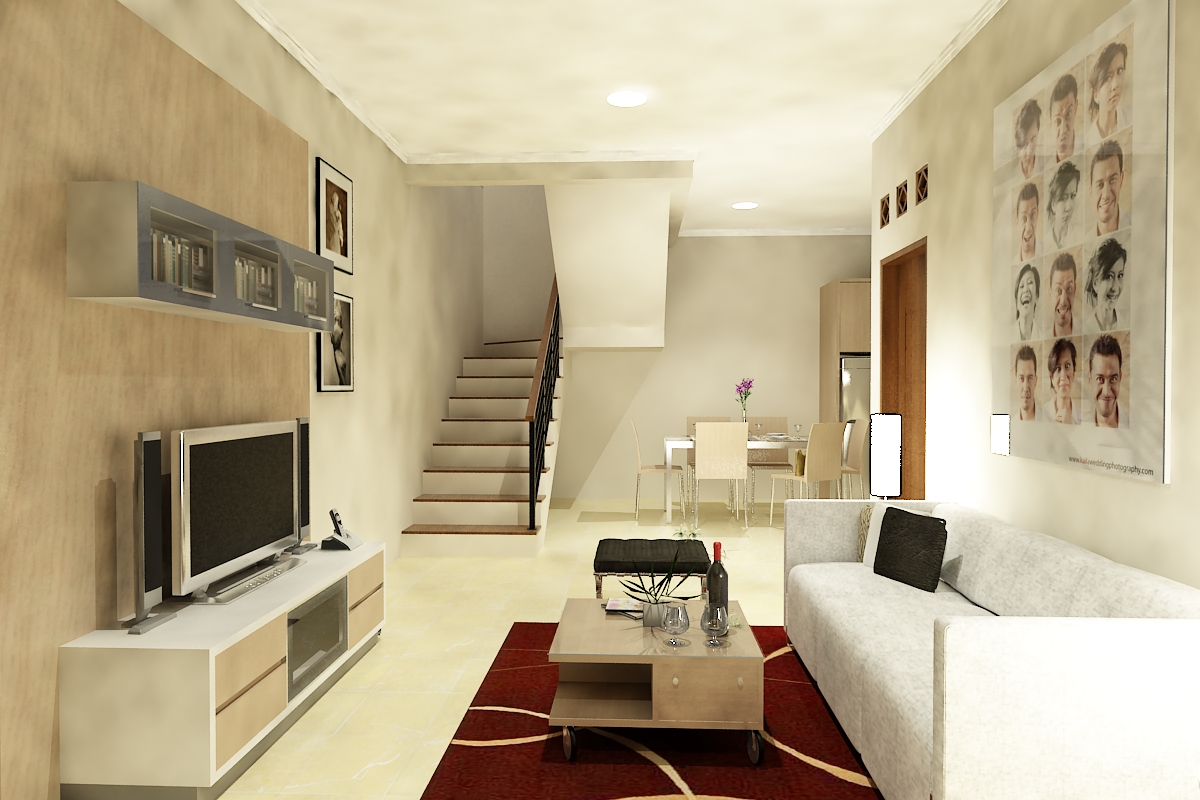Desain Ruang Tamu Rumah Ruko Wallpaper Dinding