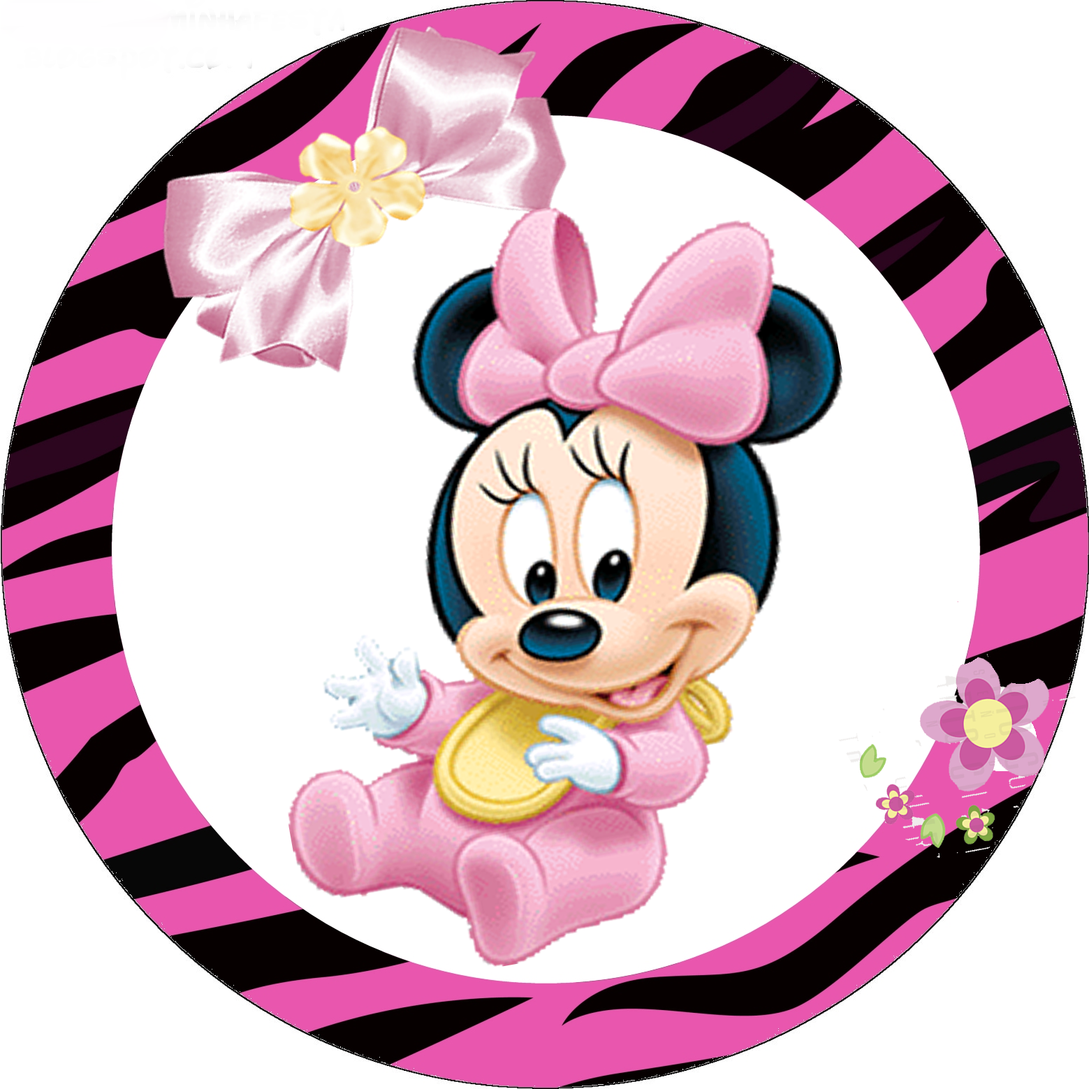 Minnie Zebra in Pink Free Printable Cupcake Wrappers and Toppers.