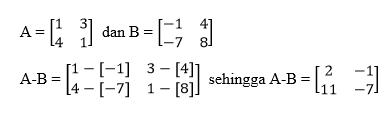 Pengurangan Matriks