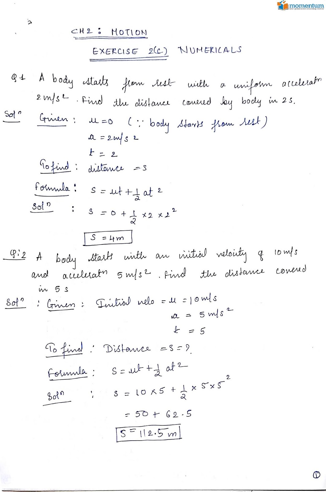 ICSE Class 9 Physics : Chapter 2 Motion Exercise (2C)