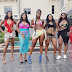 Upcoming Nigerian actresses pose in their swimwear by a pool