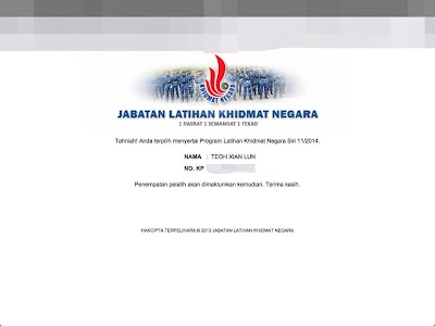 Semakan PLKN Pelatih Terpilih 2014 Online SMS