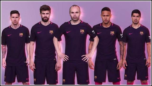 Jersey Tandang Barcelona Musim 2016-2017 Warna Ungu Pink