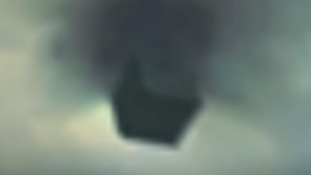 Black Cube UFO Shoots out of a cloud near secret research base.