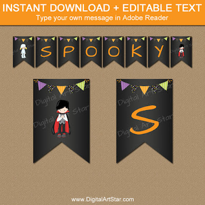 kids halloween banner with vampire and mummy spacers