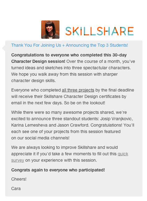 Chosen as one of the top 3 students for character design challenge!!!