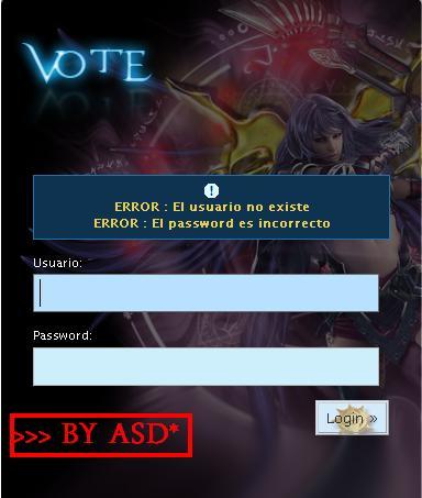 Interfaz de ingreso al vote reward