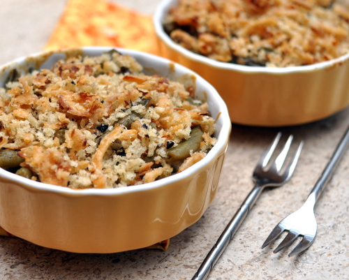 Make-Ahead Fresh Green Bean Casserole ♥ KitchenParade.com, made with fresh beans and mushrooms, then frozen to bake later. Recipe, insider tips, nutritition and Weight Watchers points included.