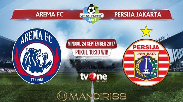 Arema FC sudah meraih tren positif dalam dua pertandingan terakhir Berita Terhangat Prediksi Bola : Arema FC Vs Persija Jakarta , Minggu 24 September 2017 Pukul 18.30 WIB @ TVONE