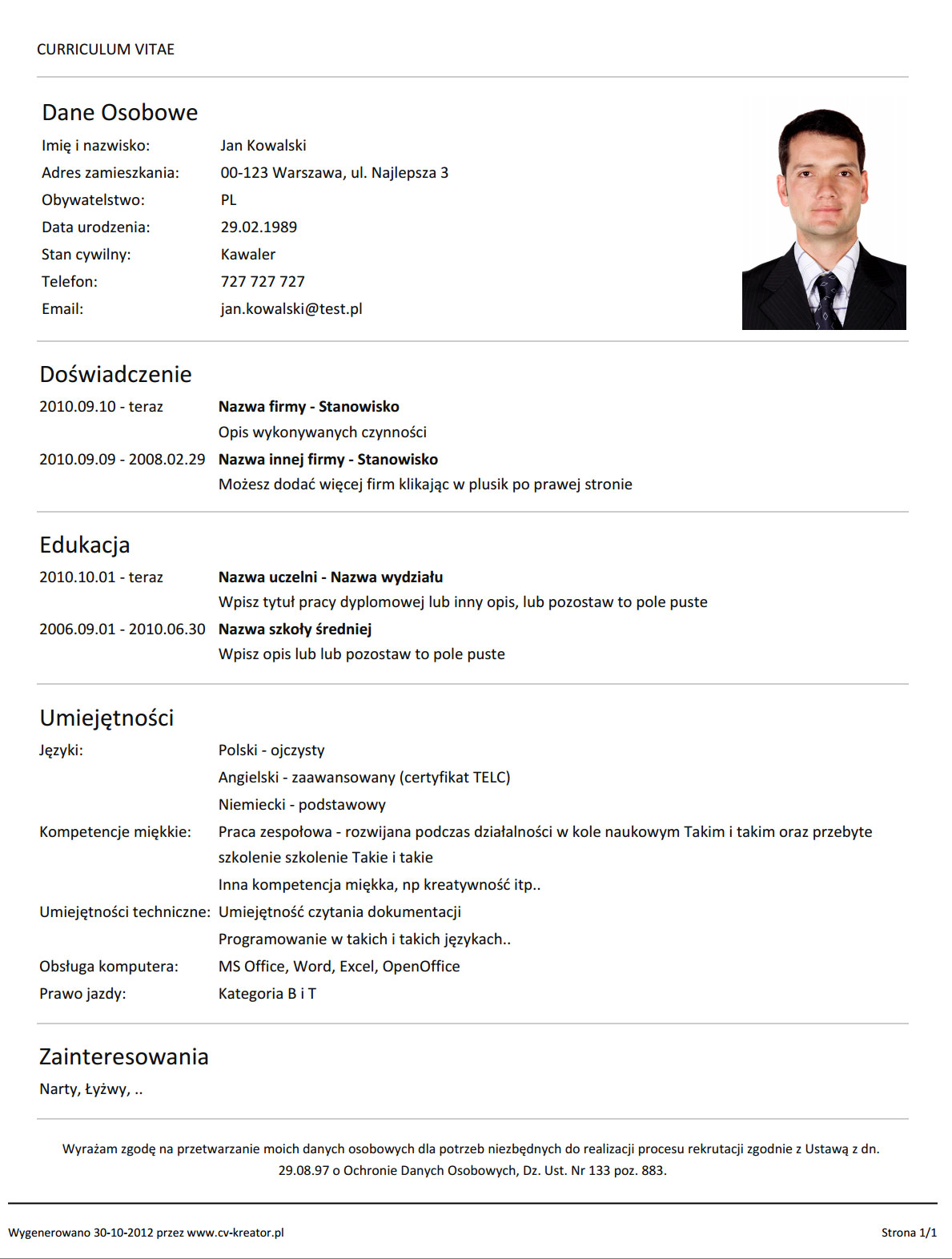 make an excellent resume for job