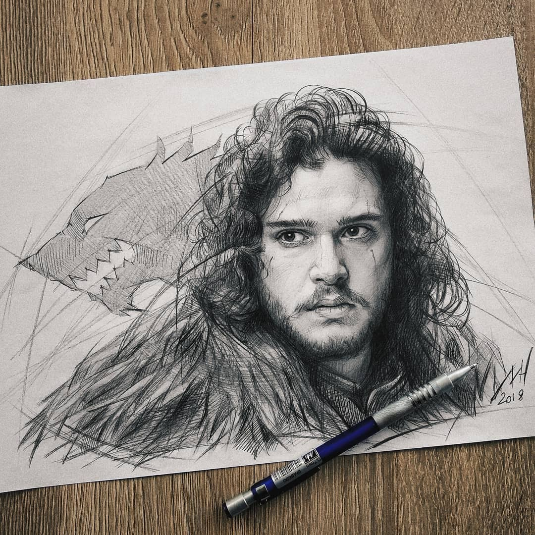 02-Jon-Snow-Kit-Harington-GoT-Michael-Naumets-Portraits-Drawings-of-Celebrities-and-Non-www-designstack-co
