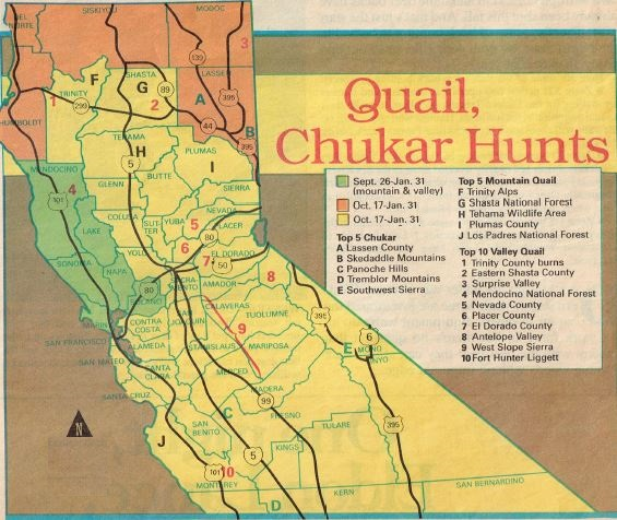 2016 MAP OF QUAIL HUNTING CALIFORNIA, how to hunt california