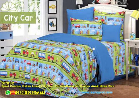 Sprei Custom Katun Lokal City Car  PatternKarakter Kartun Anak Hijau Biru