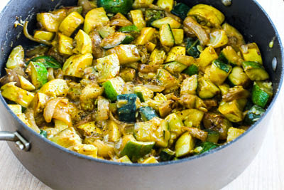 Easy Calabacitas or Cheesy Summer Squash with Onions and Chiles found on KalynsKitchen.com