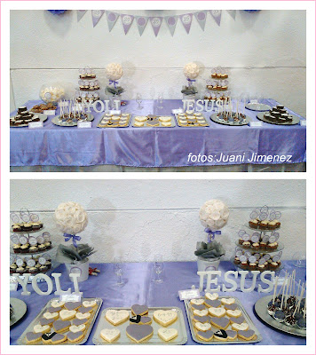 mesa dulce bodas de plata lila y plata