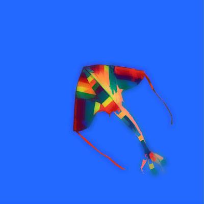 peinture, numérique, photo numérique, cerf-volant, jeune homme, corde, diptyque, couleur