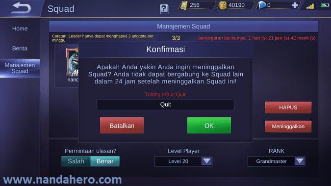 cara meninggalkan squad mobile legends