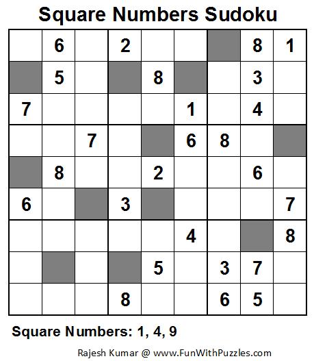 Square Numbers Sudoku (Fun With Sudoku #35)