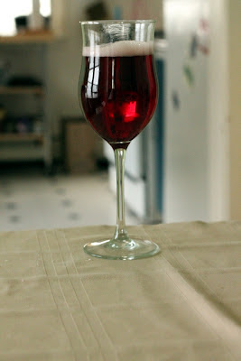 A glass of wine-beer hybrid.