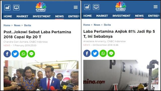 Duh Siapa yang Bohong Ini? Jokowi Sebut Laba Pertamina Rp20 T, Pertamina Bilang Rp5 T