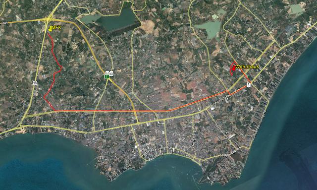 Karte mit Punkt wo die Motor Fahrzeugkontrolle ist in Pattaya